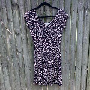 MONTEAU black/cream patterned dress sz M